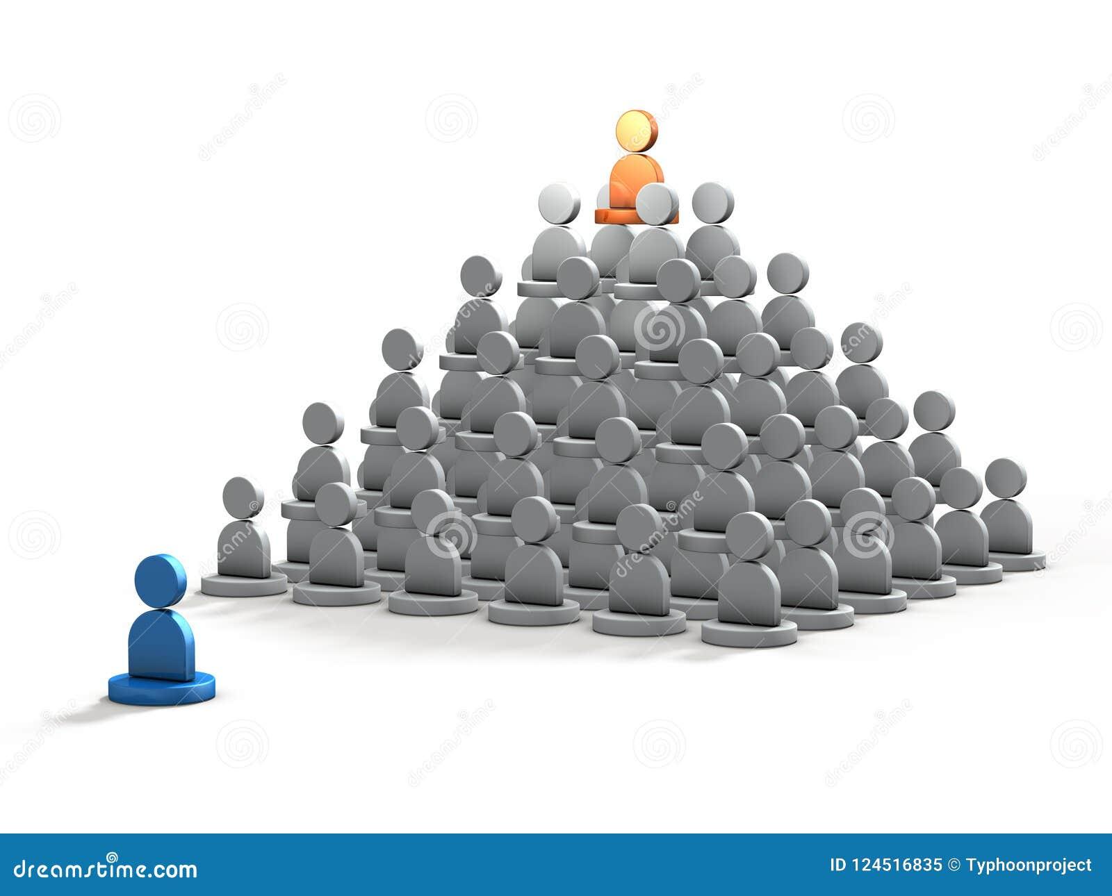 3DCG abstrait représentant la personne qui a été exclue de la structure sociale