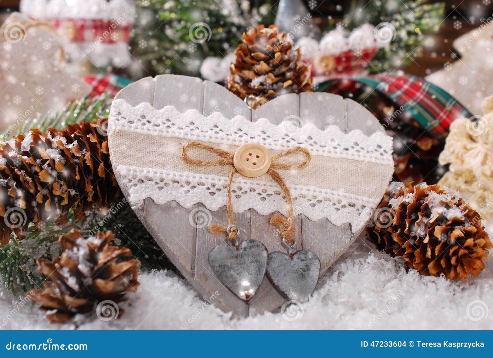 D coration de no l avec le coeur en bois photo stock image 47233604 - Coeur avec des photos ...