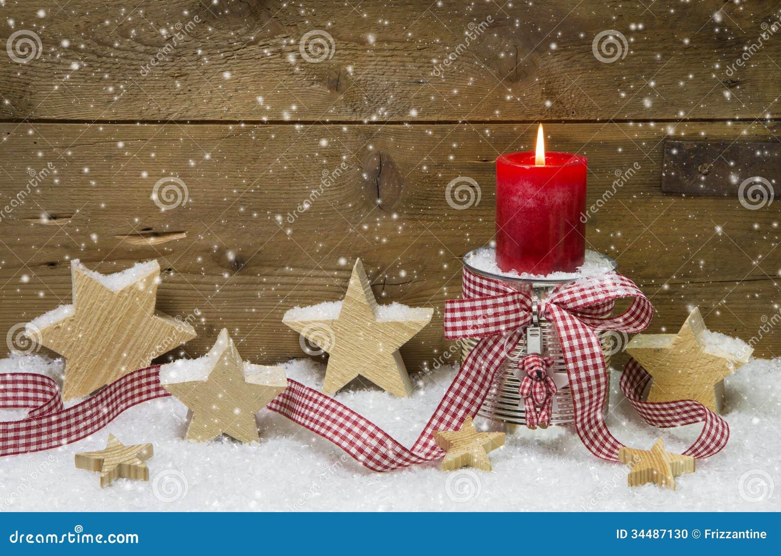 D coration de no l en rouge et blanc avec une bougie photo - Decoration noel rouge et blanc ...