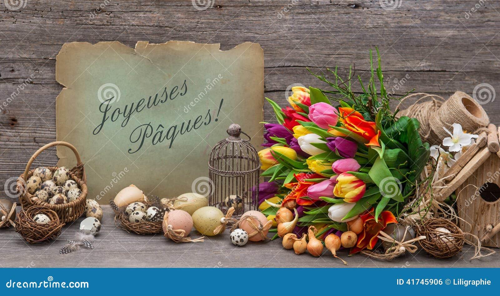 D Coration De P Ques Avec Des Oeufs Et Des Fleurs De Tulipe Photo Stock Image 41745906