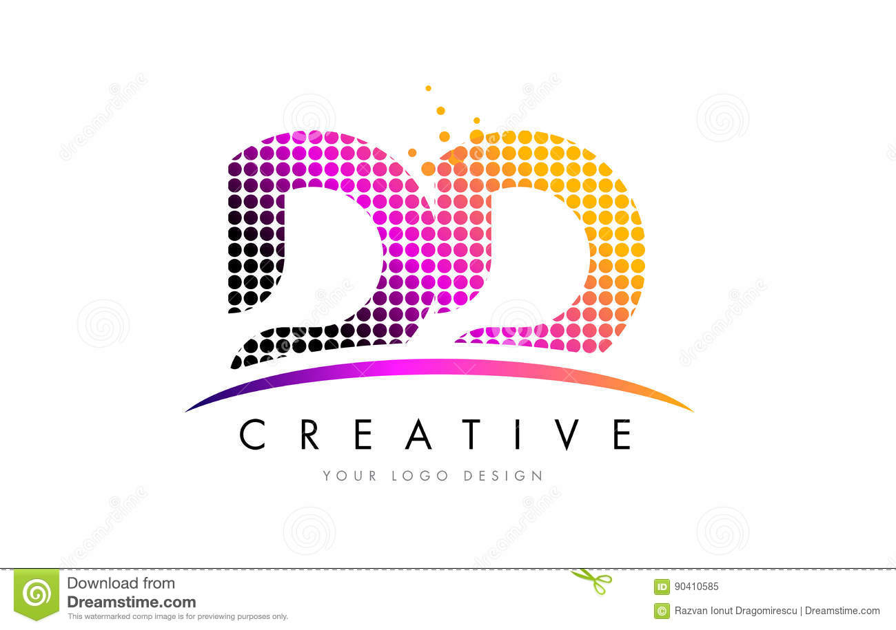 dd d d letter logo design with magenta dots and swoosh