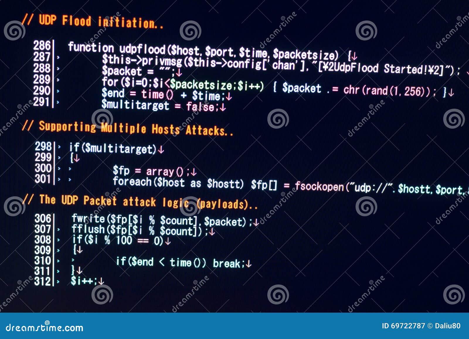 ddos attack concept conceptual of cyber attack code stock