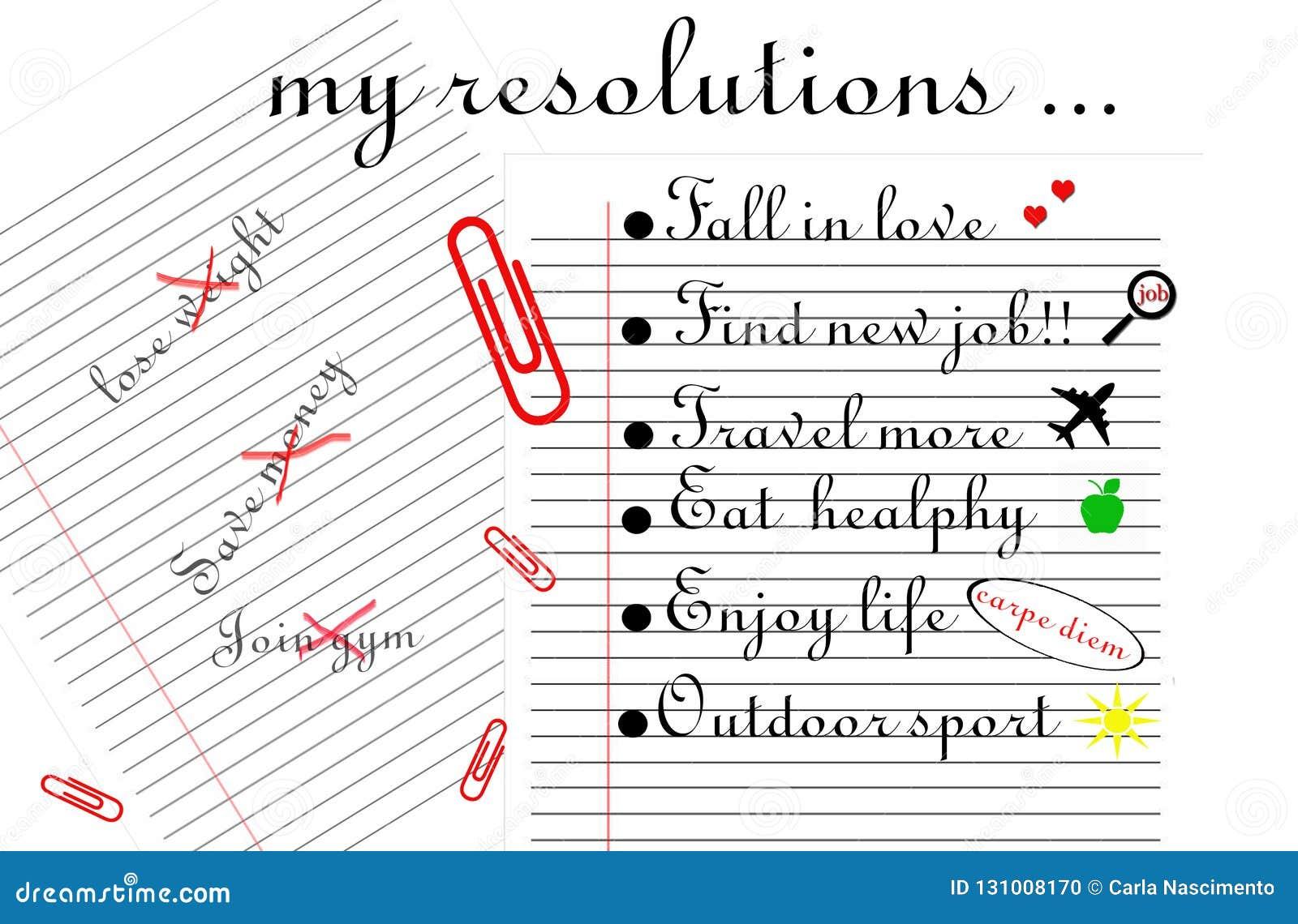 """De """"l illustration mes résolutions Deux ont rayé des feuilles, un avec trois résolutions avec une croix en rouge et autre avec si"""