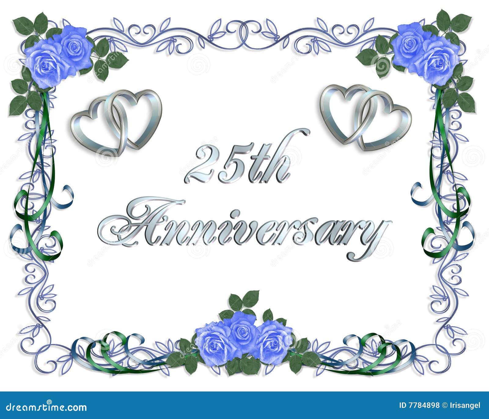De 25ste Uitnodiging van de Grens van de Verjaardag van het Huwelijk