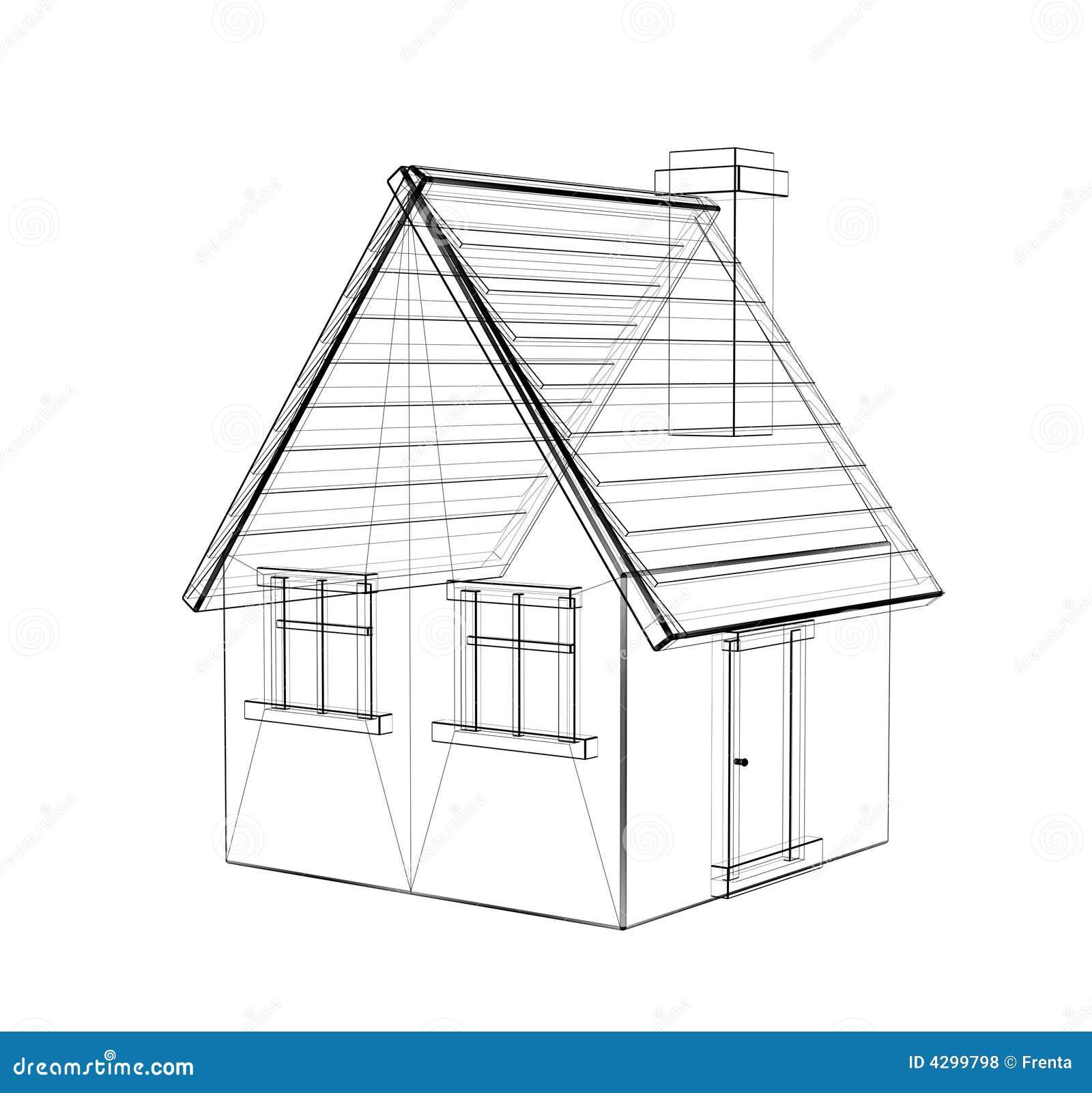 De 3d Tekening Van Een Landelijk Huis Stock Illustratie