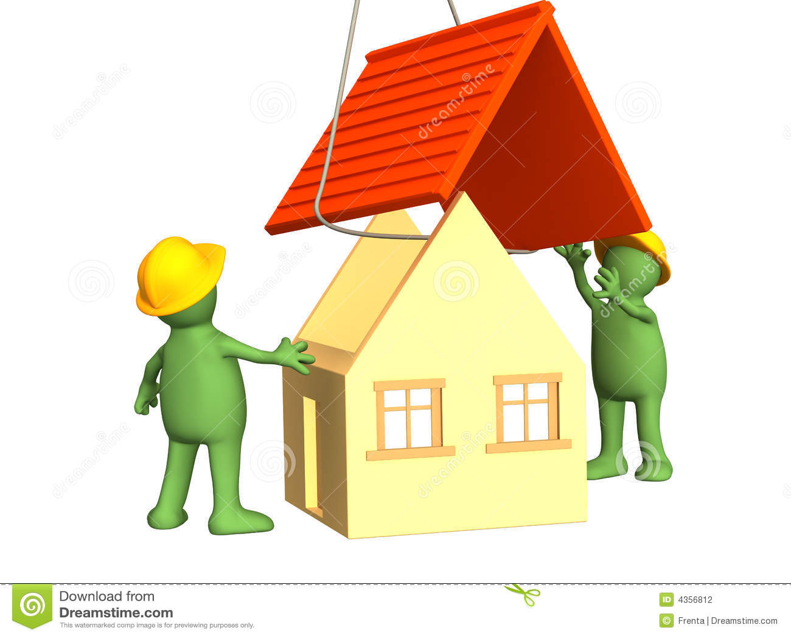De 3d werkende marionetten die het huis bouwen stock fotografie afbeelding 4356812 - Het huis van de cabriolet ...