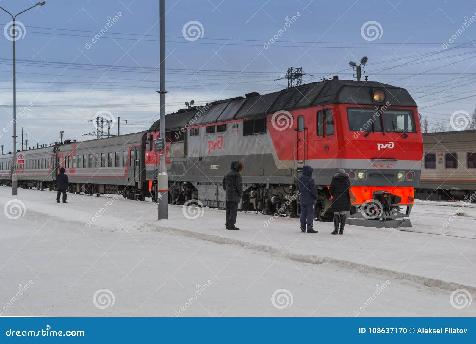 De aankomst van de trein in de winter