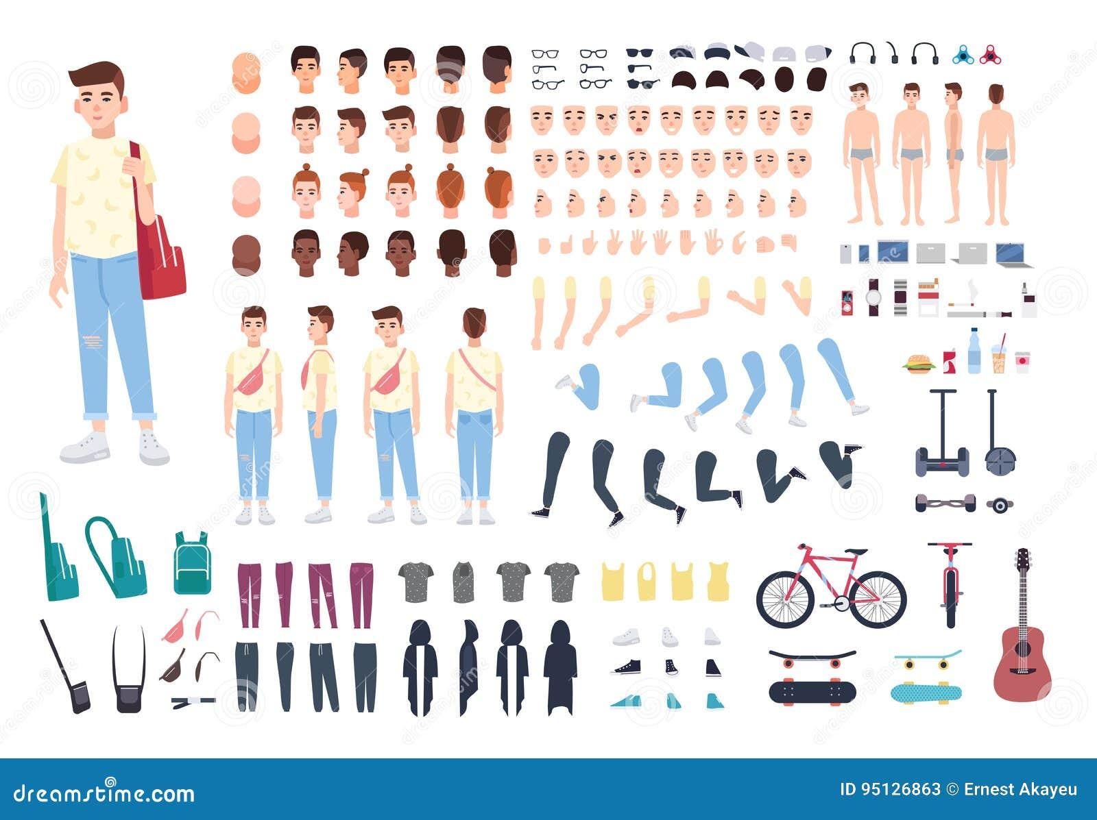 De aannemer van het tienerkarakter De reeks van de jongensverwezenlijking Verschillende houdingen, kapsel, gezicht, benen, handen