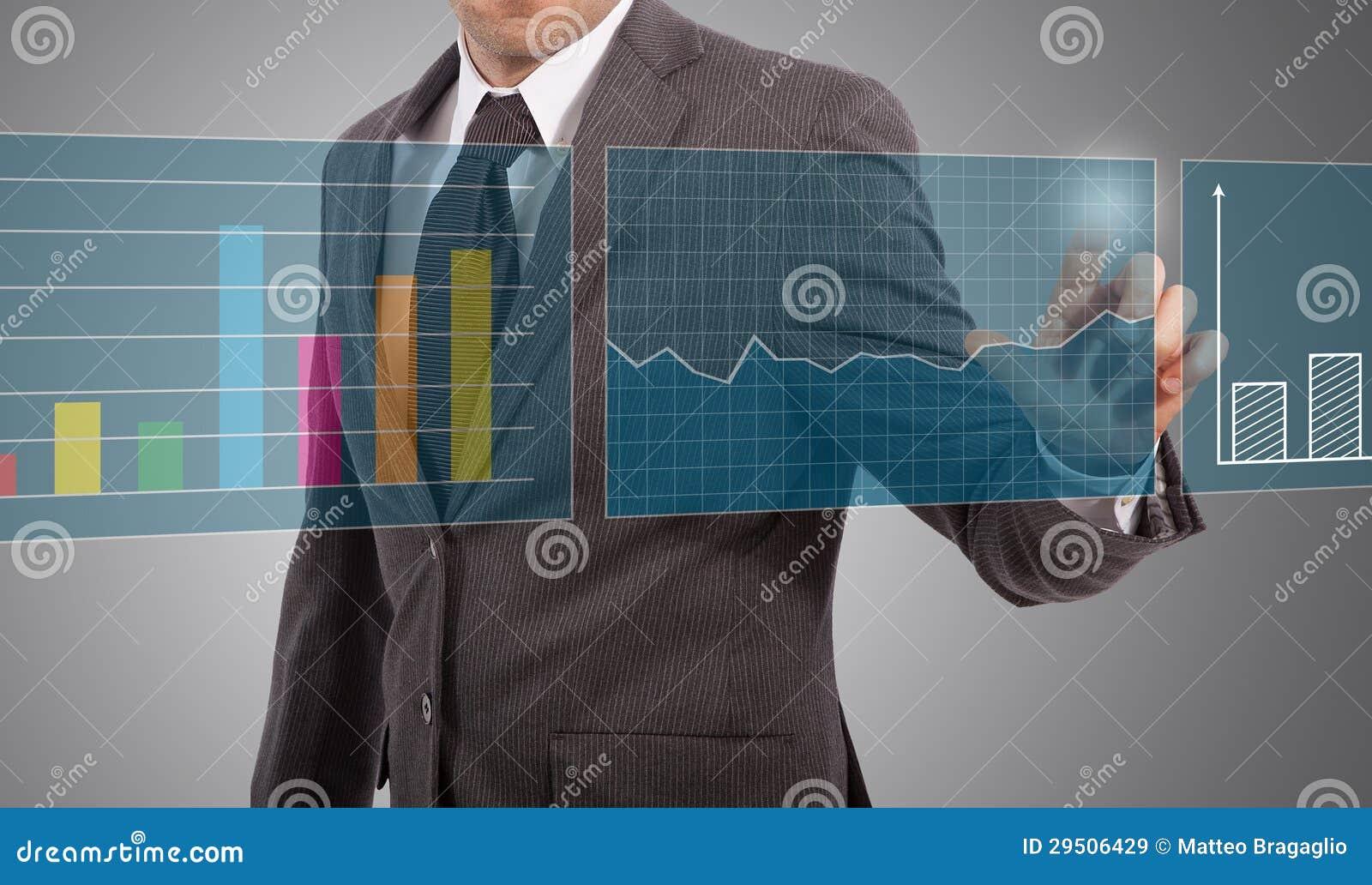 De aanrakingsgrafieken van de zakenman