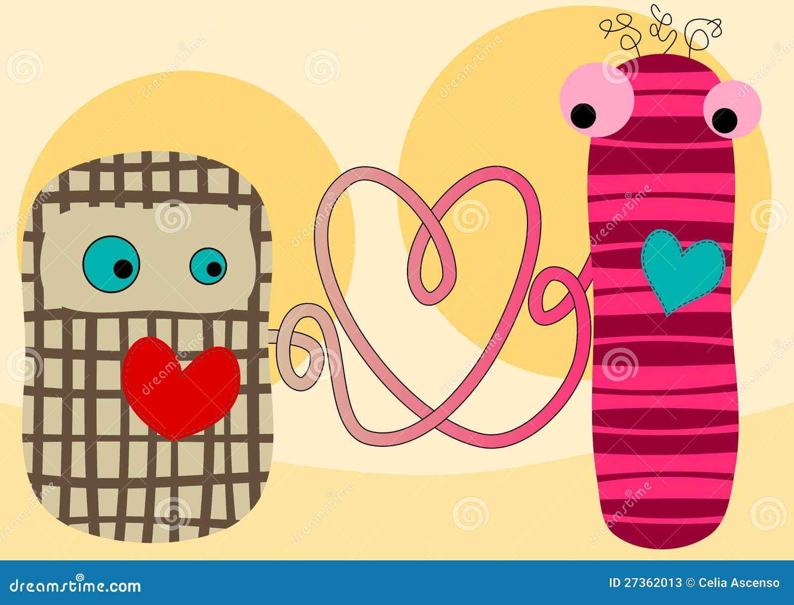 De aansluting van de liefde de valentijnskaartenkaart van stoffenpoppen