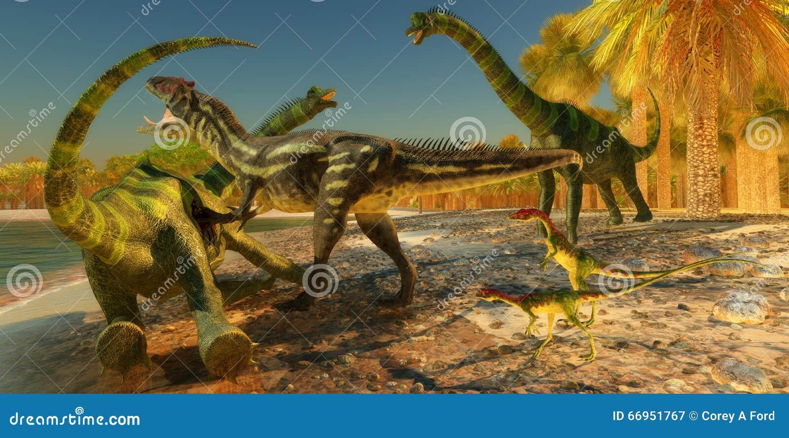 De Aanval van de Brachiosaurusdinosaurus