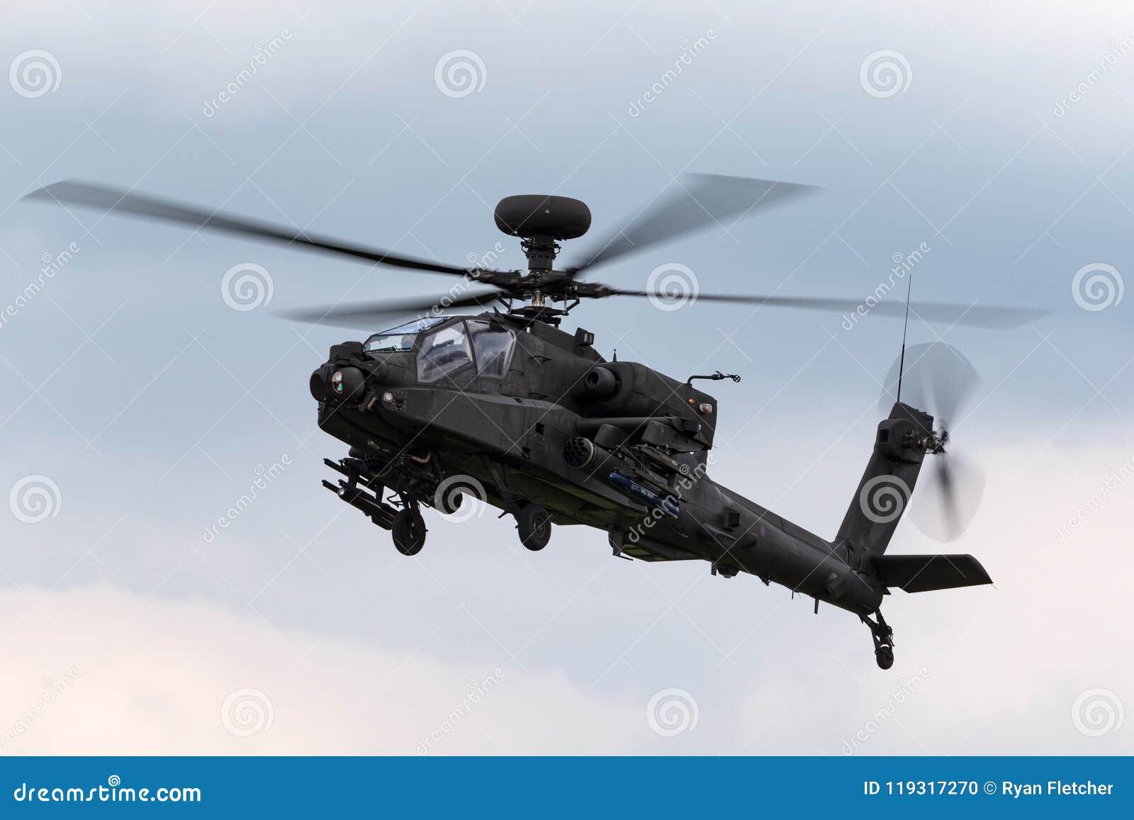 De Aanvalshelikopter ZJ 172 van AgustaWestland wah-64D Apache AH1 van de Britse Korpsen van de Legerlucht
