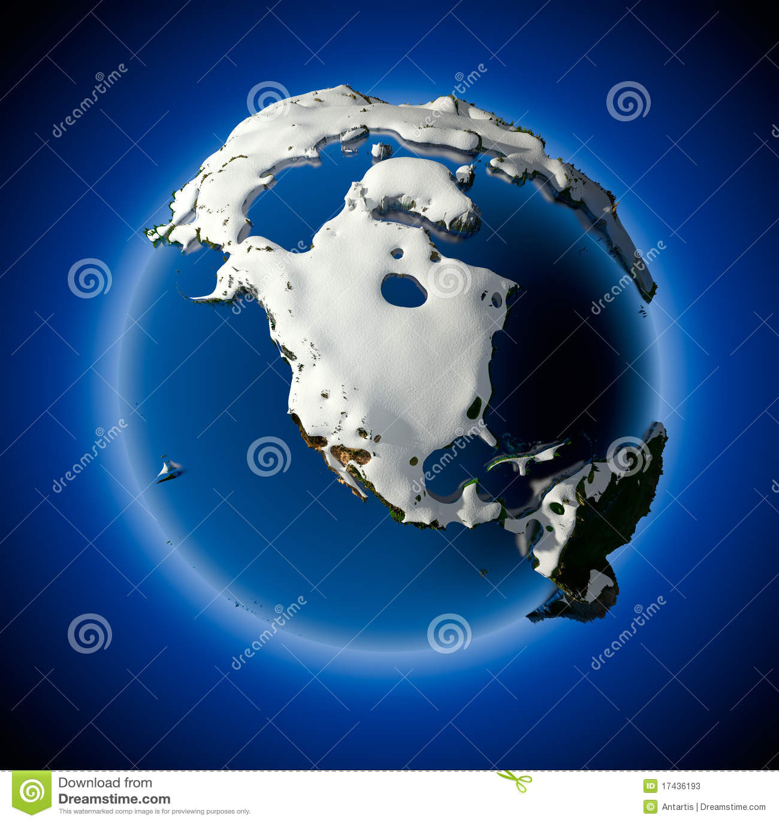 De aarde wordt behandeld door sneeuw