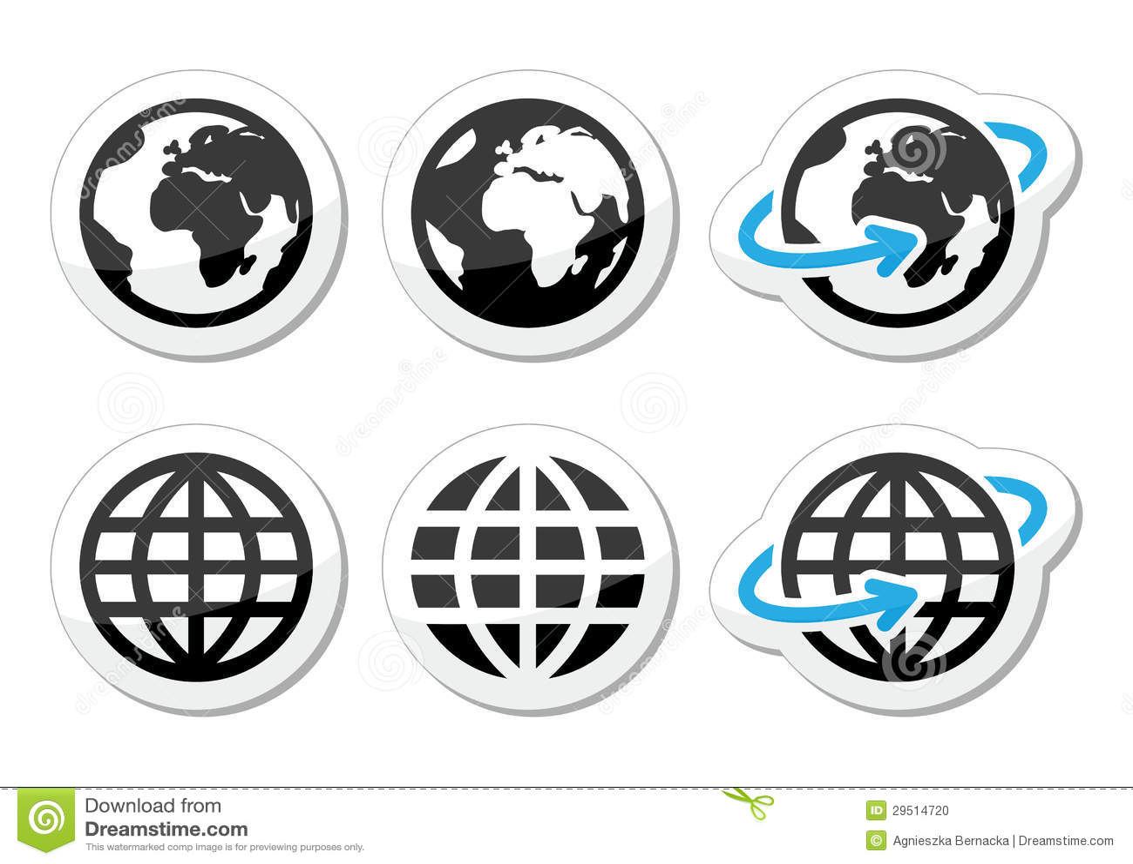 De aardepictogrammen van de bol met bezinning worden geplaatst die