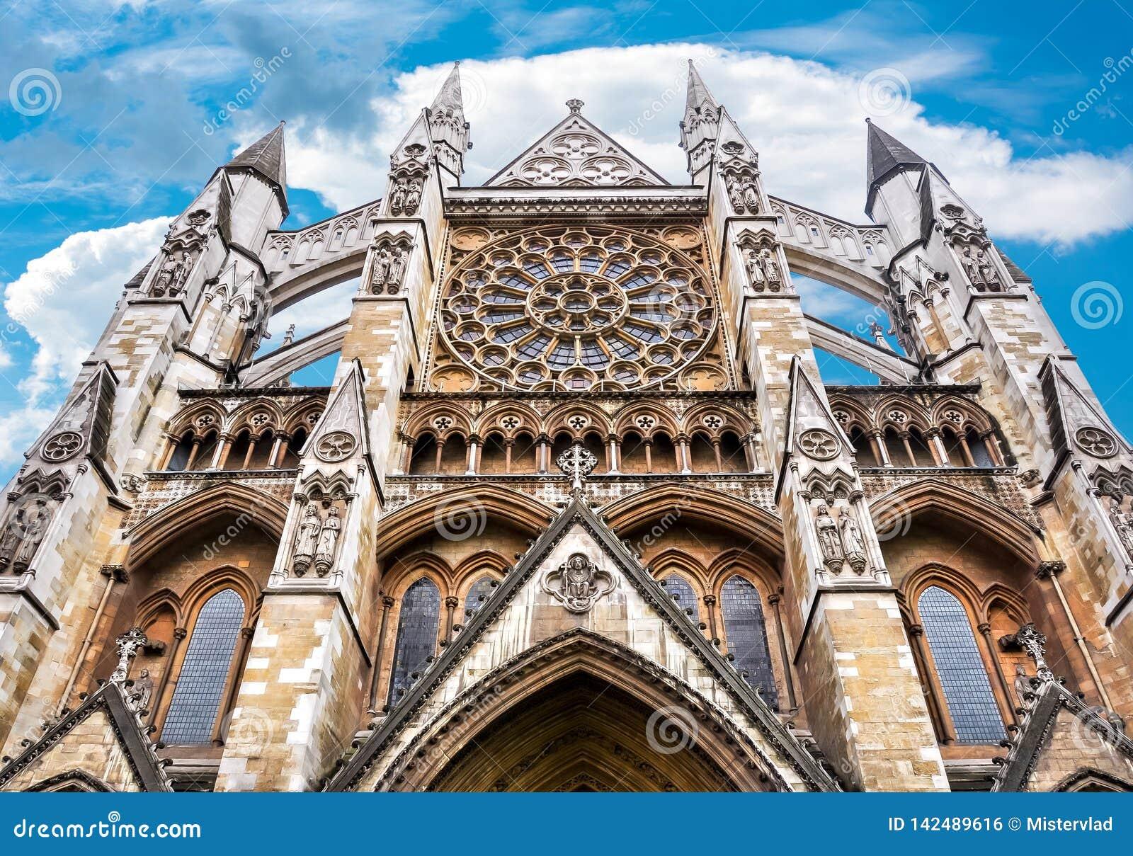 De Abdijvoorgevel van Westminster, Londen, het UK