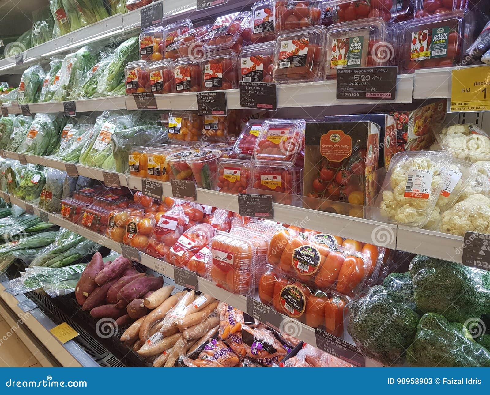 20 de abril de 2017 Kuala Lumpur Exposição do alimento em Jaya Grocer Supermarket