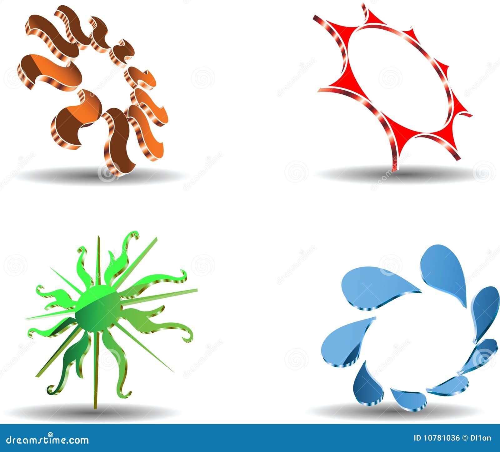 De abstracte 3D symbolen van de Zon.