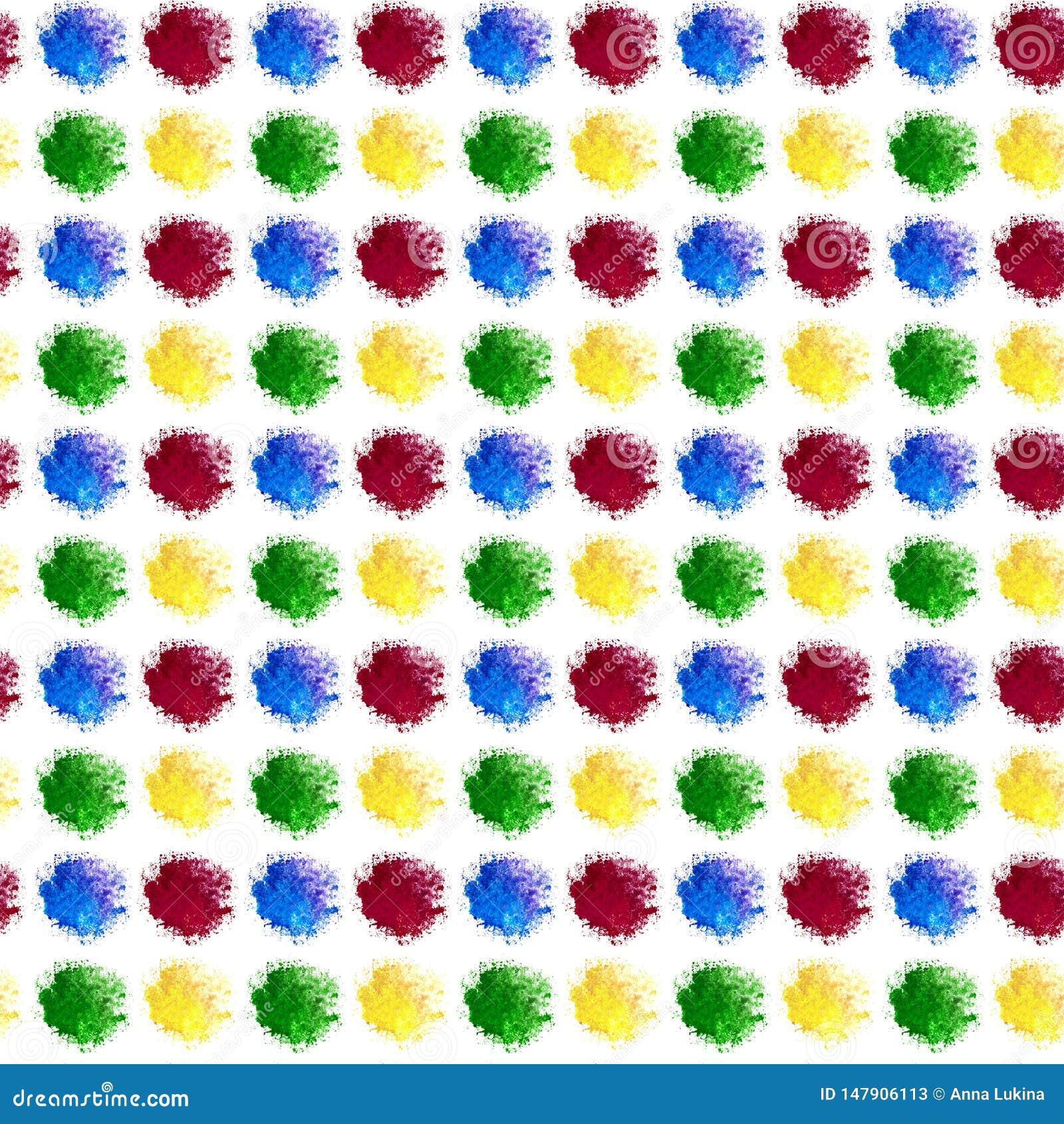 De abstracte achtergrond is plonsen van een multi-colored waterverfdalingen De vlekken liggen precies op een rij en kolommen Geel