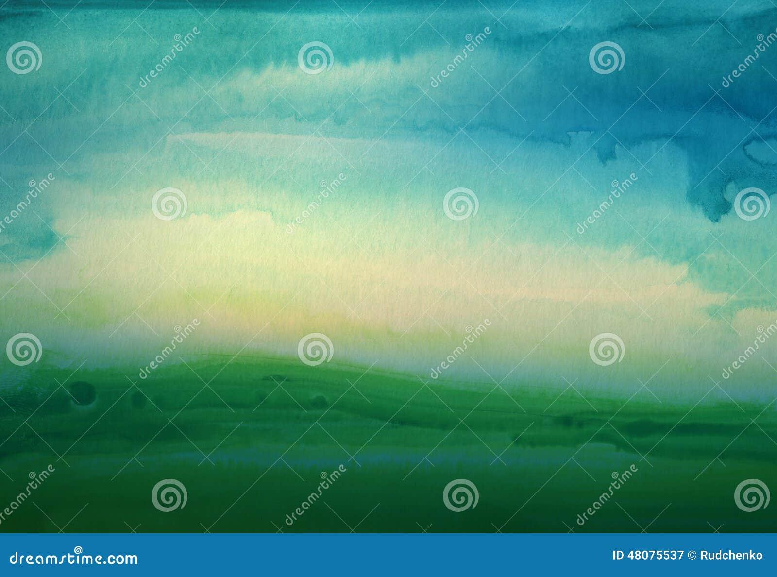 De abstracte achtergrond van het waterverfhand geschilderde landschap