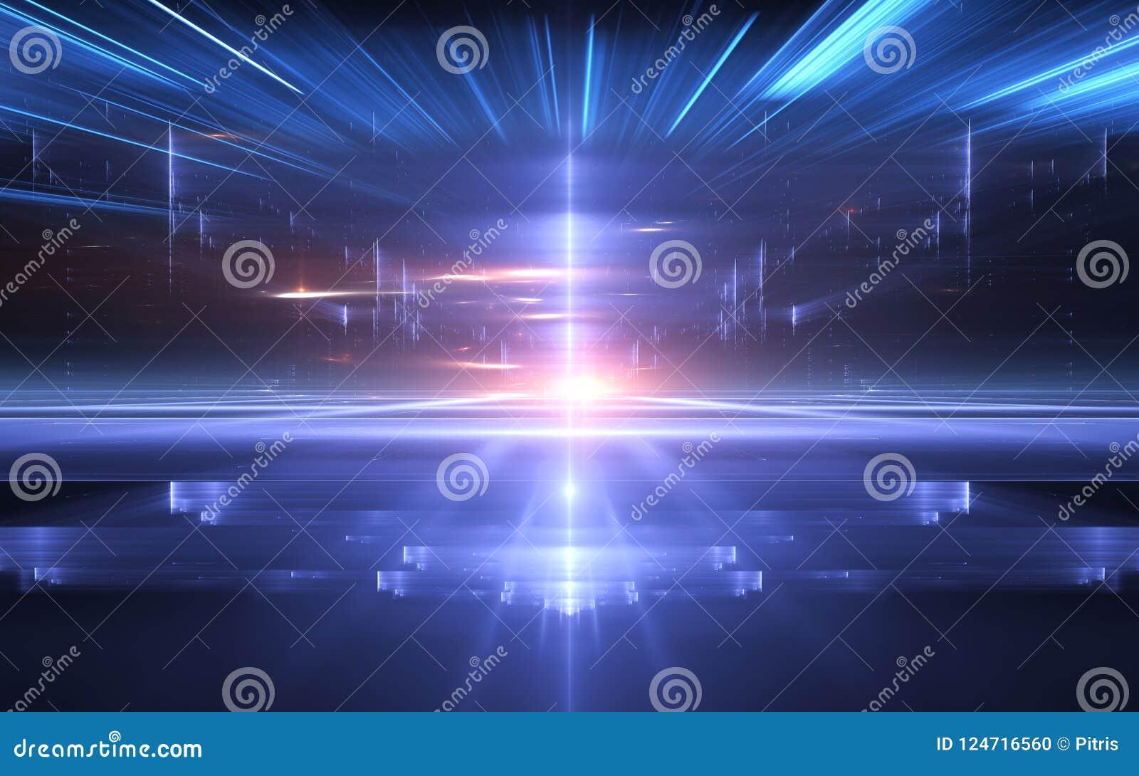 De abstracte achtergrond van de perspectief futuristische technologie Tijdafwijking, Cyberspace