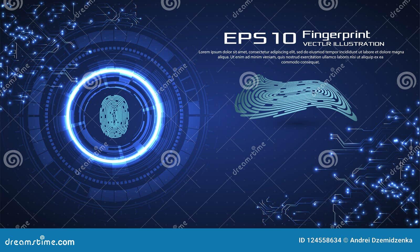 De abstracte Achtergrond van de Technologie Het Concept van de Veiligheid van Cyber Vingeraftasten in Futuristische Stijl Biometr