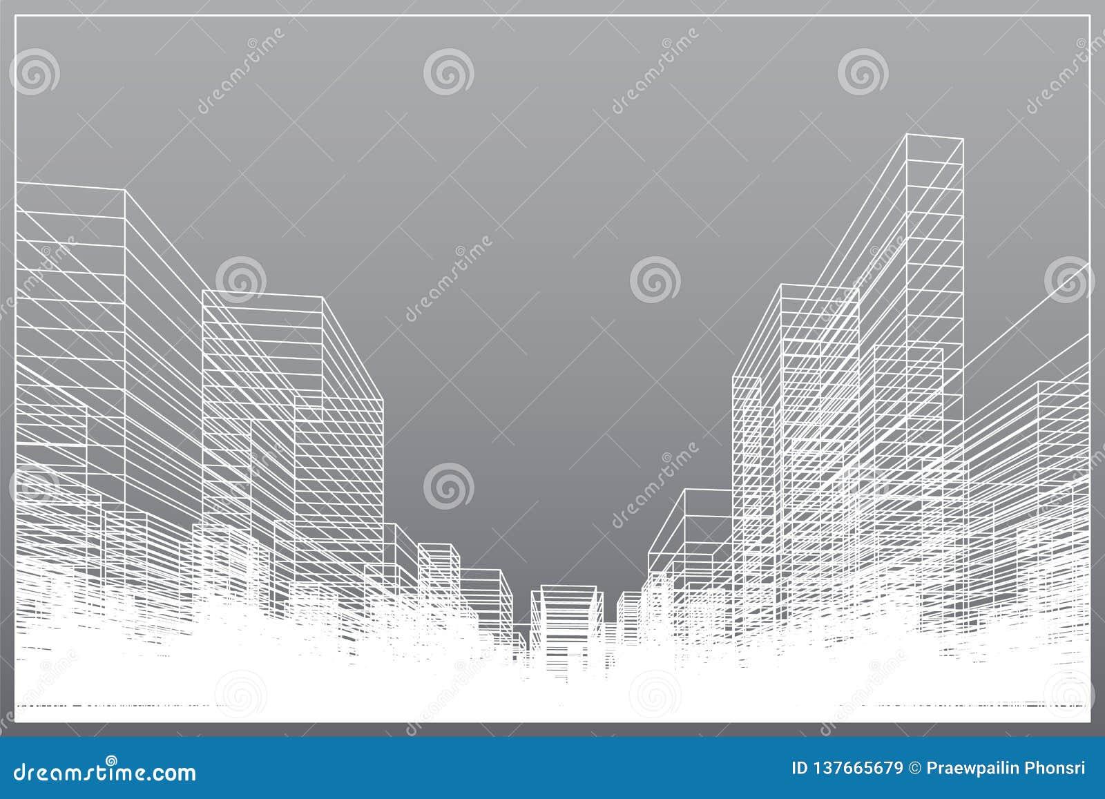 De abstracte achtergrond van de wireframestad 3D het perspectief geeft van de bouw terug wireframe