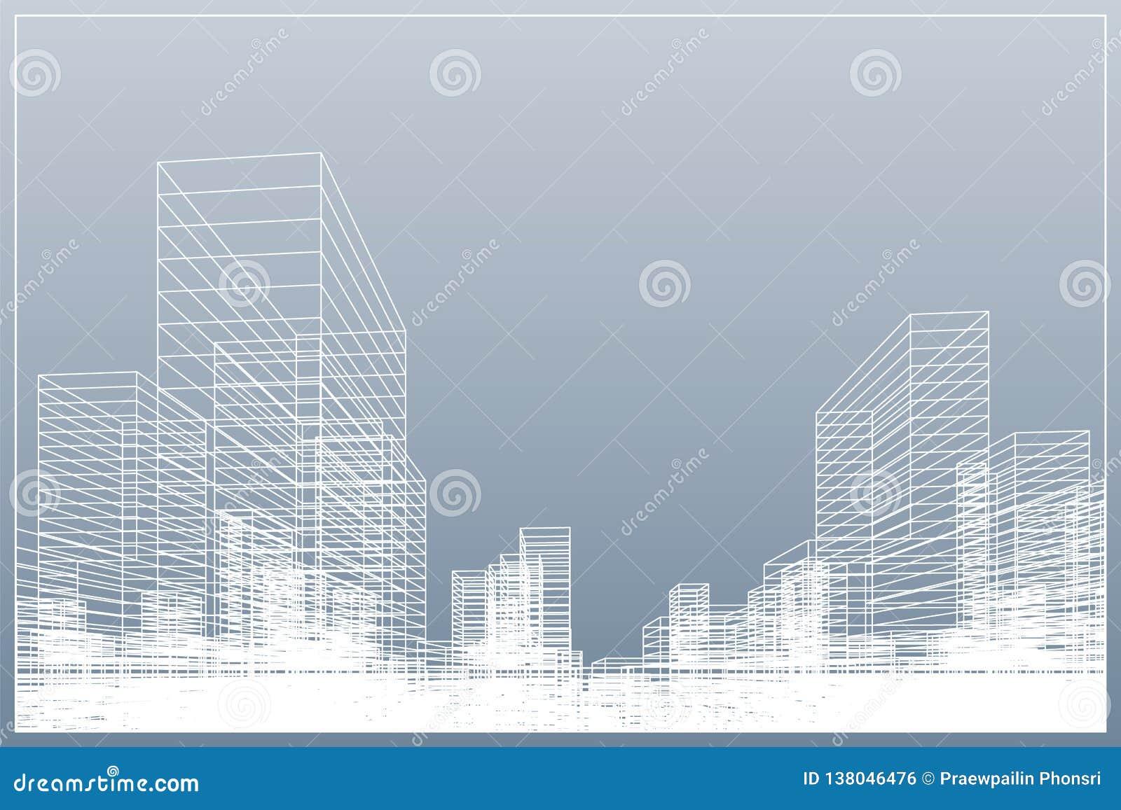 De abstracte achtergrond van de wireframestad 3D het perspectief geeft van de bouw terug wireframe Vector