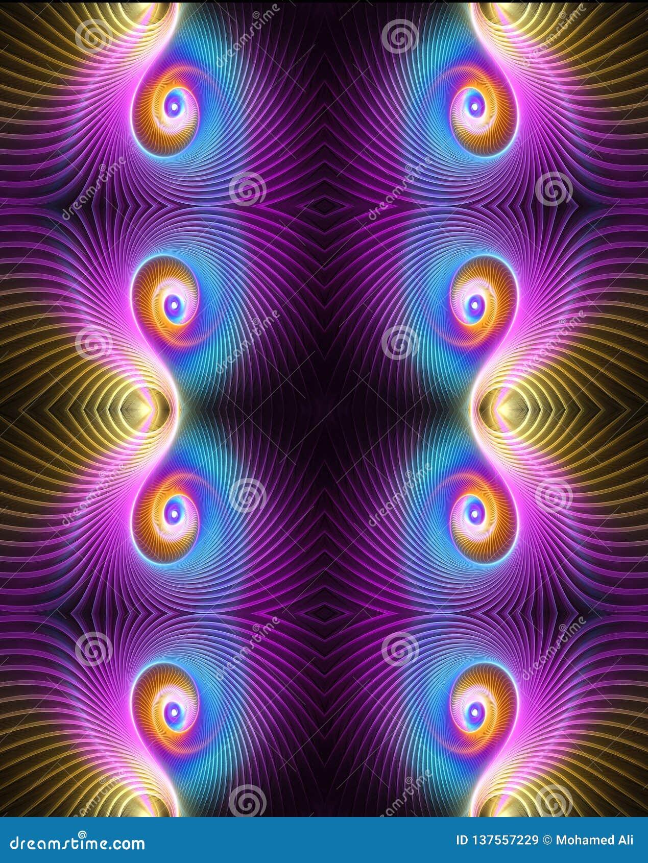 De abstracte artistieke 3d computer produceerde mooi multicolored elegant midden curvy optisch fractal kunstwerk