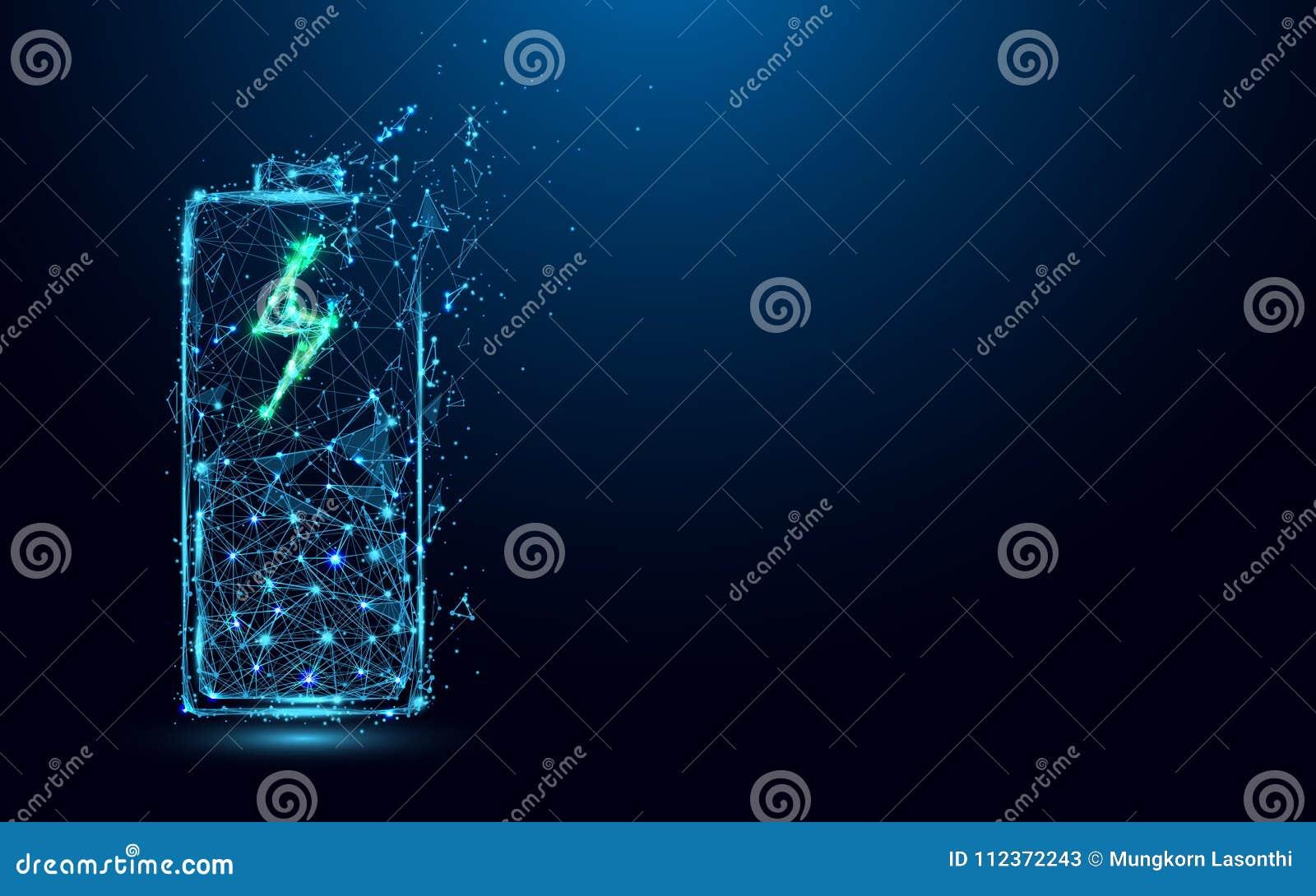 De abstracte Batterij het Laden lijnen van de Pictogramvorm en driehoeken, punt verbindend netwerk op blauwe achtergrond
