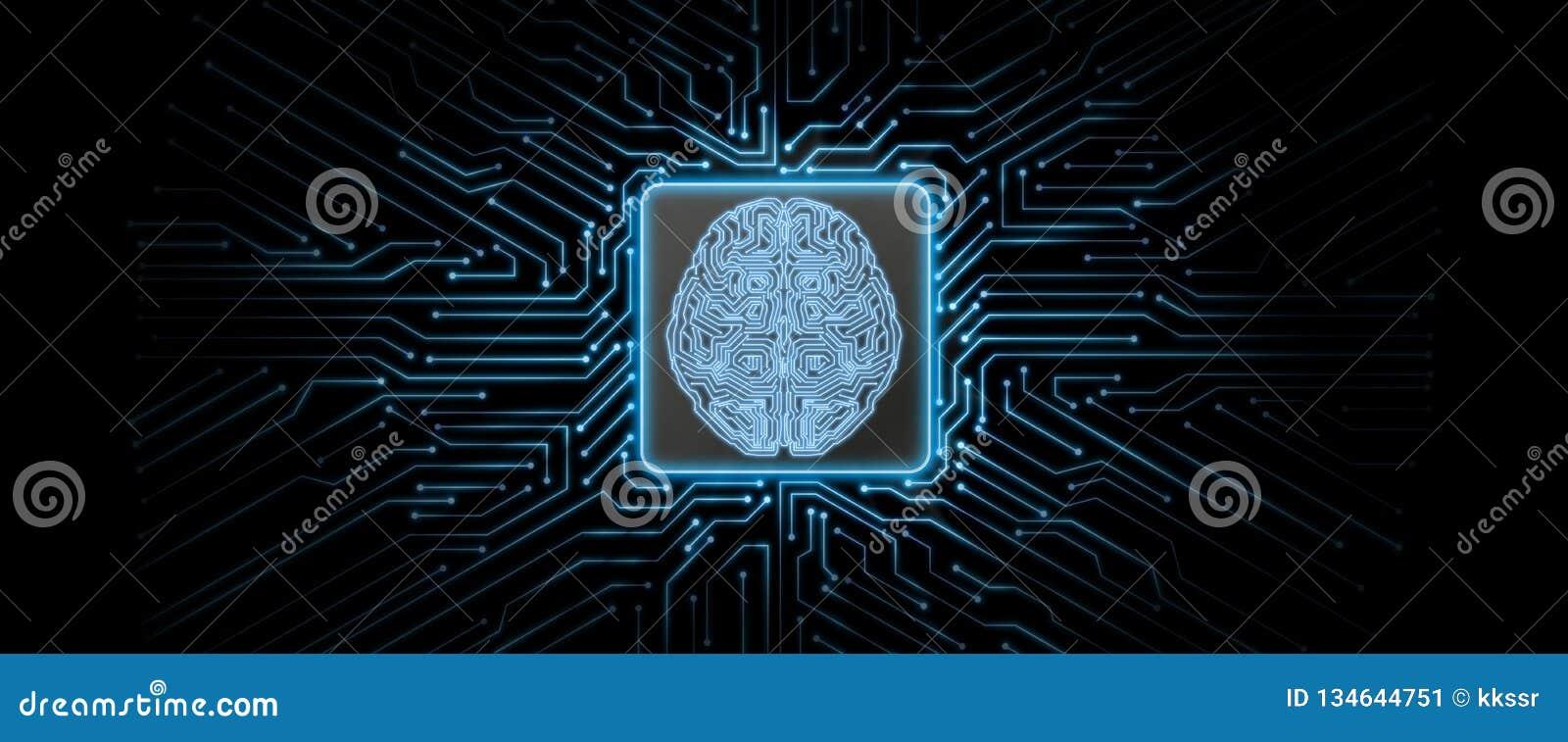 De abstracte blauwe gloeiende achtergrond van de kringsraad met hersenenembleem op centrum