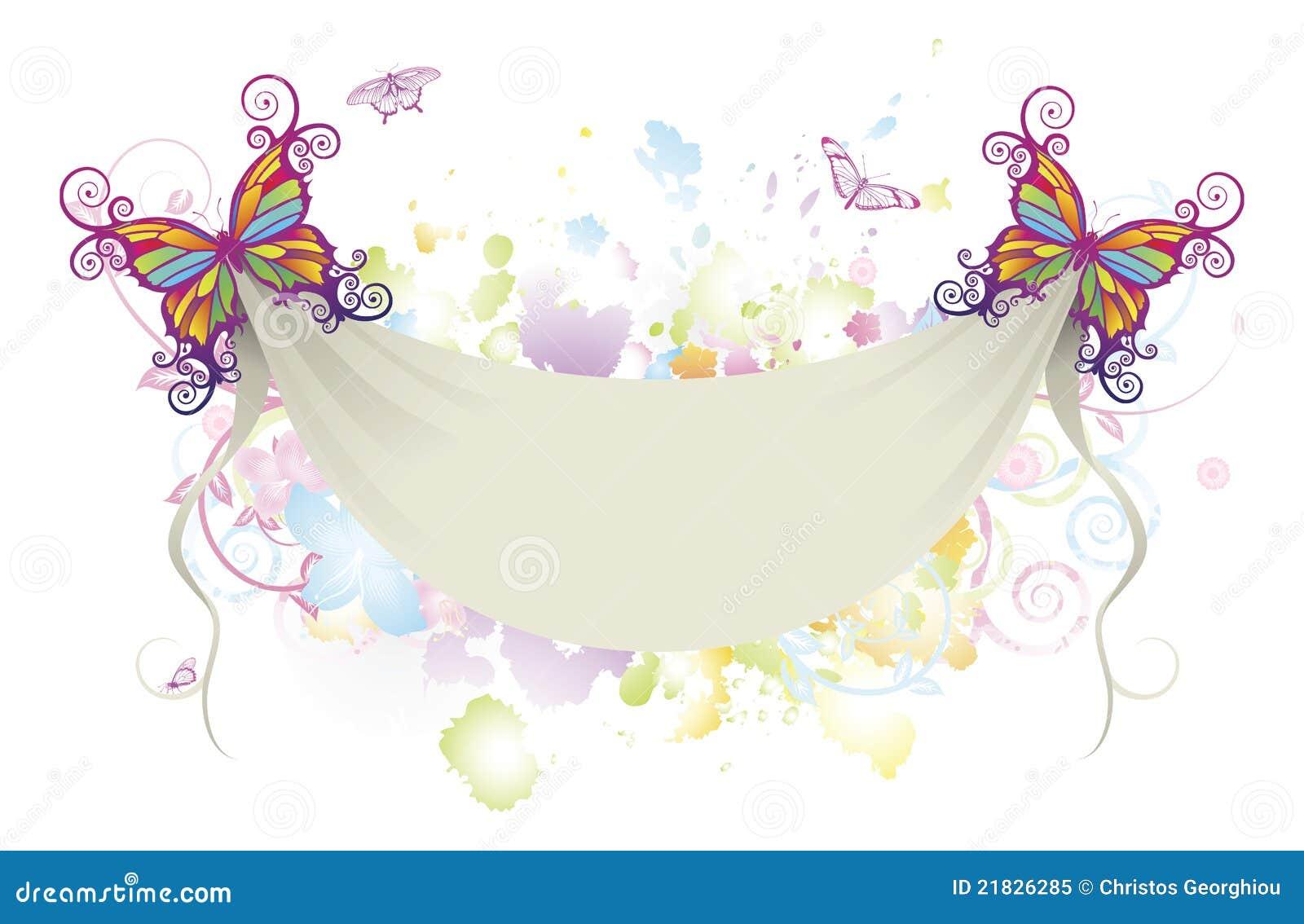 De abstracte bloemenachtergrond van de vlinderbanner
