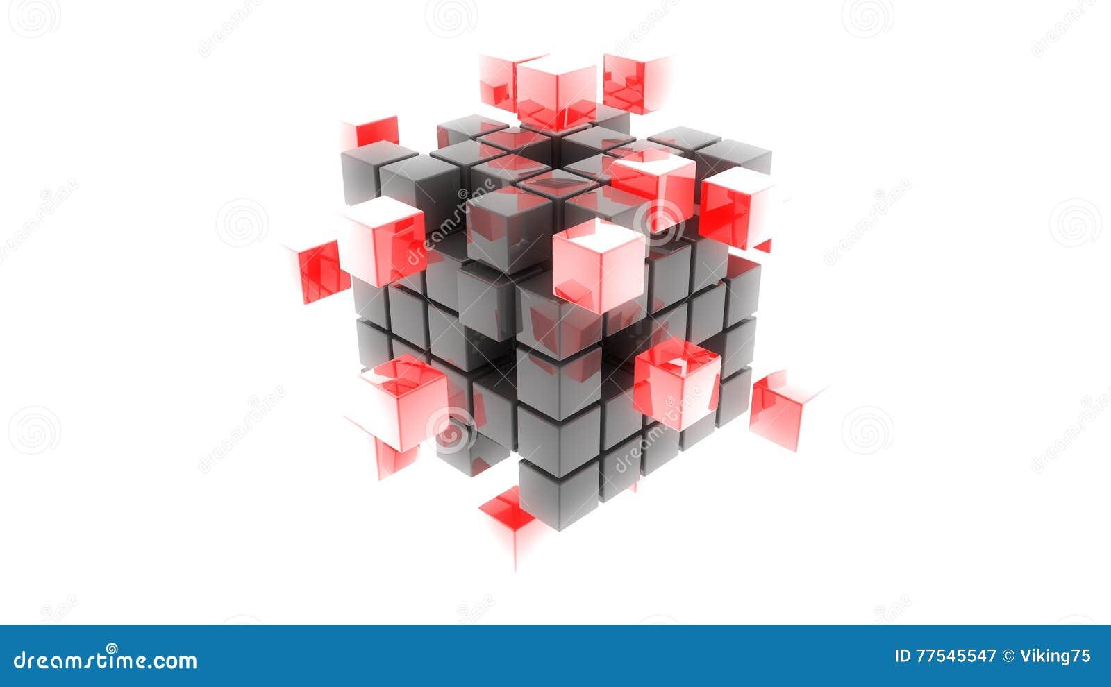 De abstracte 3d illustratie van metaal rode kubussen