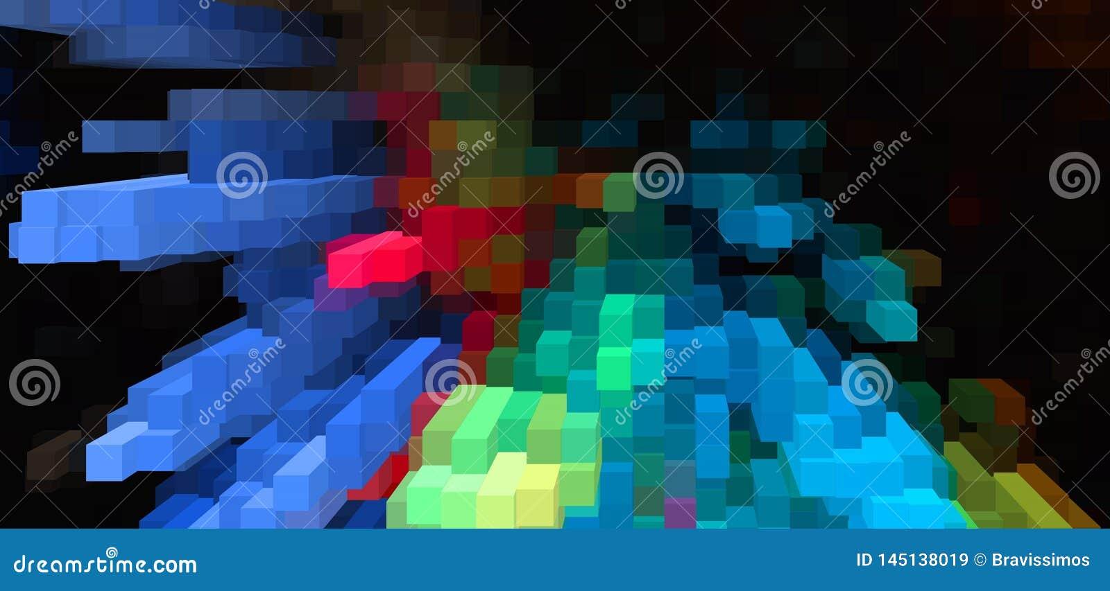 De abstracte 3d kubus drijft achtergrond, kleurrijk behang uit