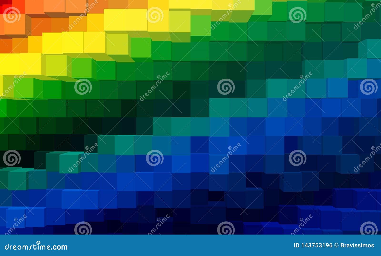 De abstracte 3d kubus drijft achtergrond, kleurrijke technologie uit