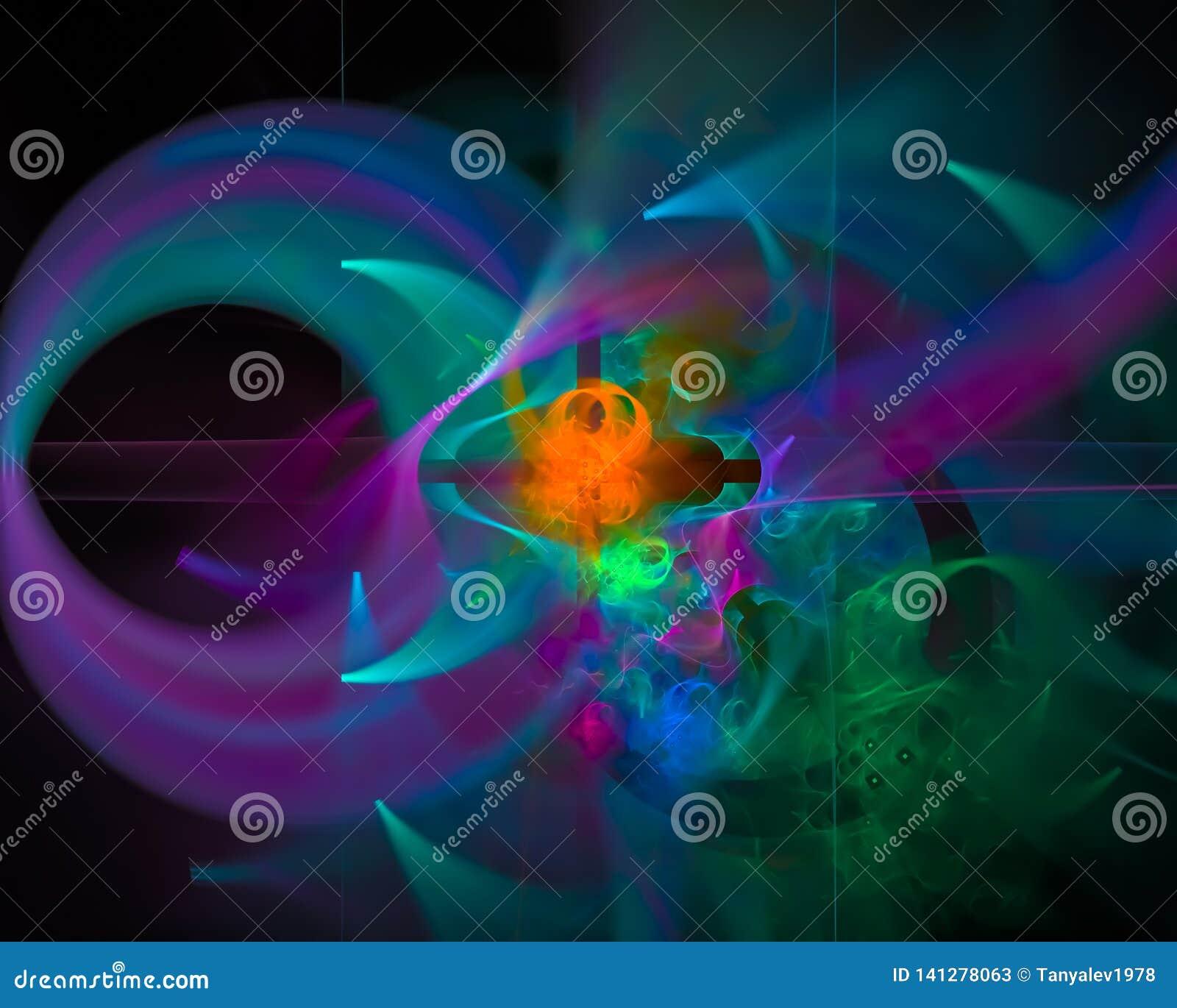 De abstracte fractal creatieve grafische, moderne fantasie van de elegantievorm, mooie ontwerpmotie, glanzende werveling,
