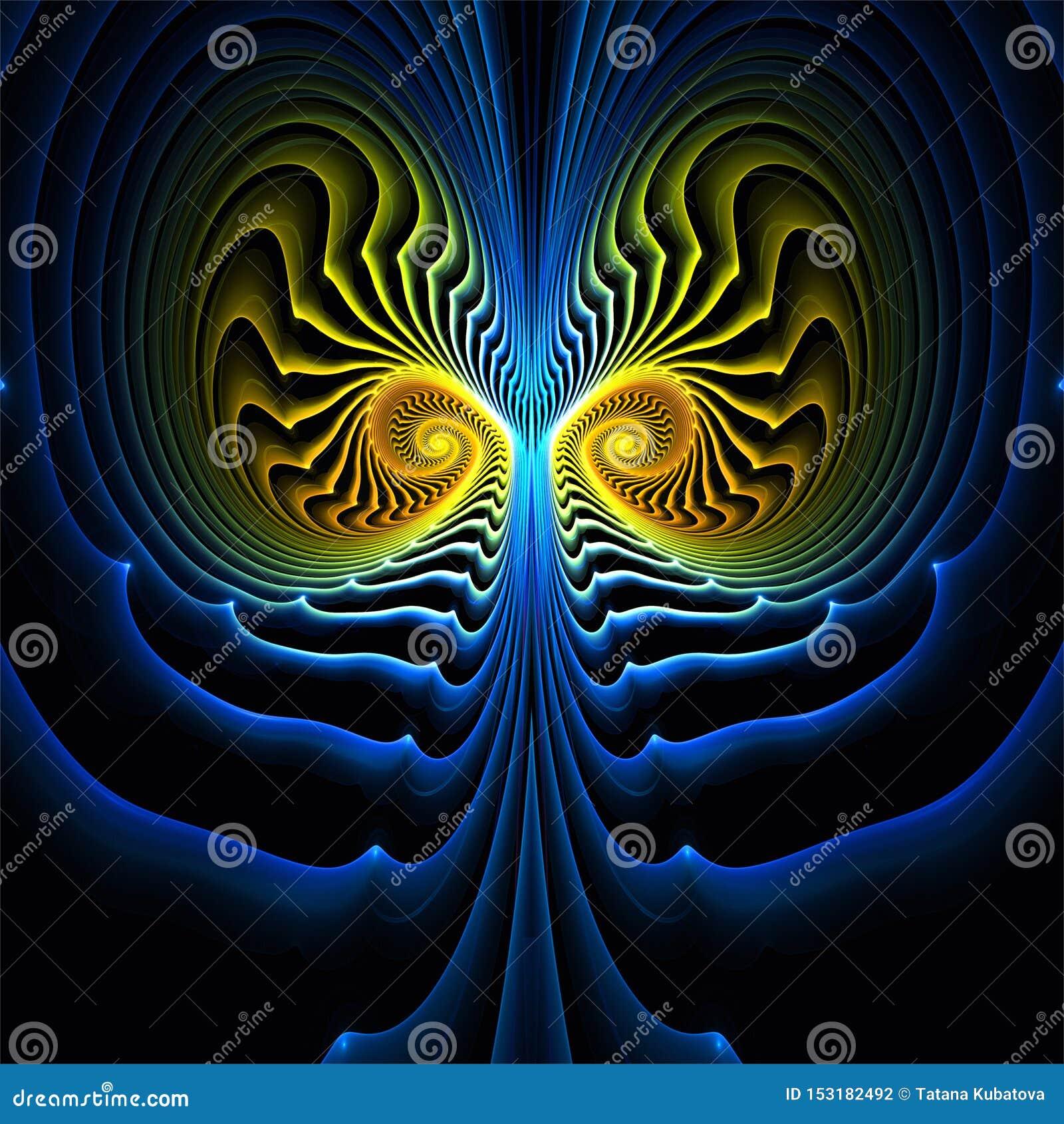 De abstracte fractal symmetrie van de kunst gele en blauwe fantasie