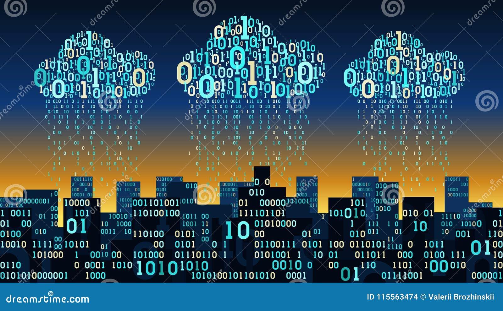 De abstracte futuristische slimme stad met de kunstmatige intelligentie verbond met wolkenopslag, de binaire stroom van regengege
