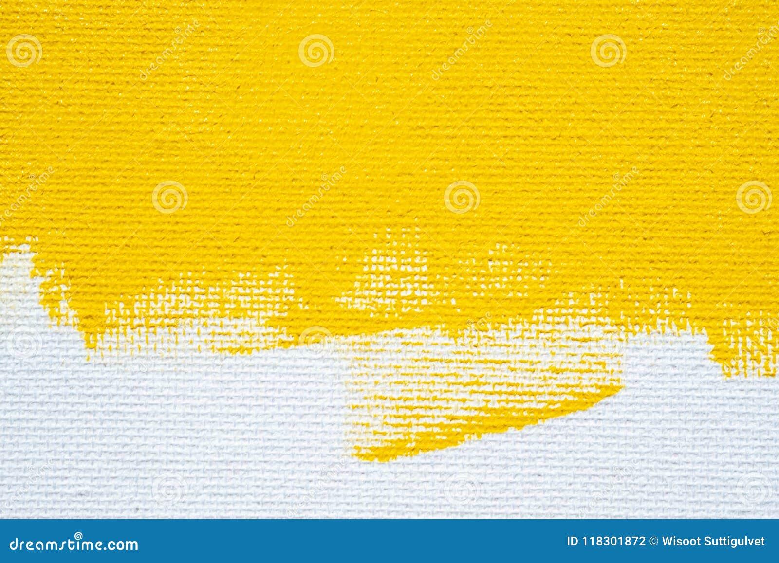 De abstracte gele gele kleur van de achtergrond witte grungegrens met witte canvasranden, uitstekende grungetextuur als achtergro