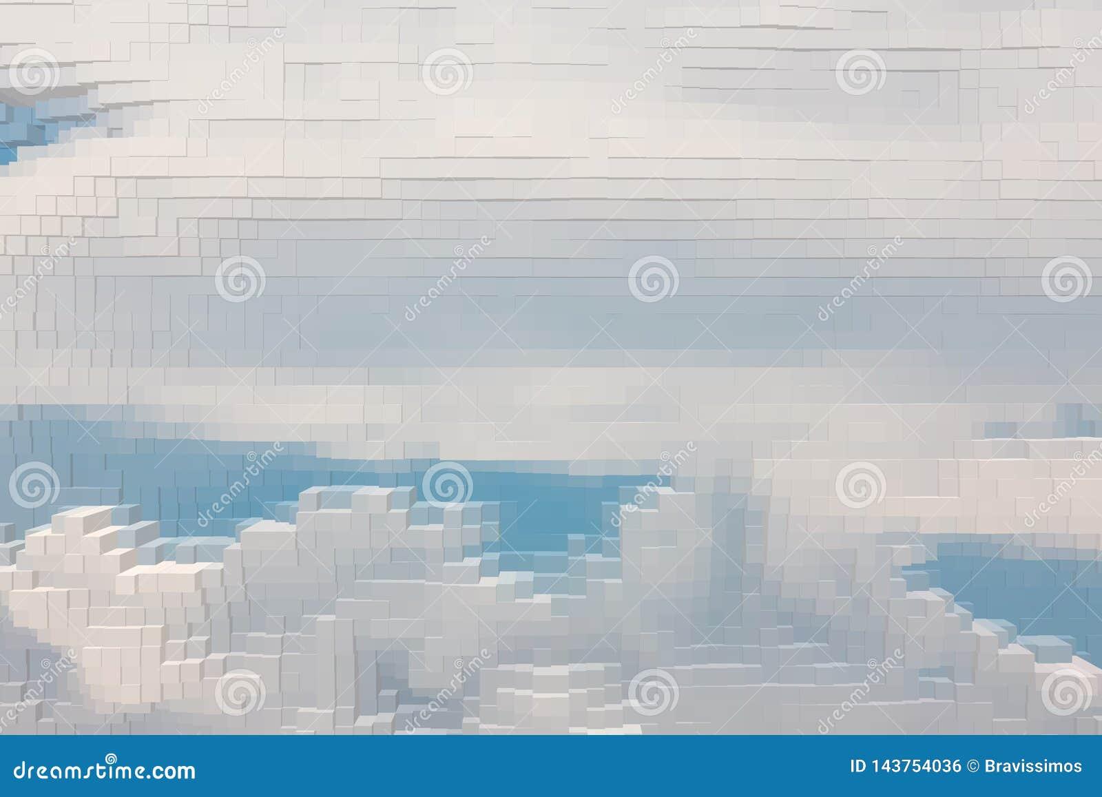 De abstracte hemelachtergrond drijft uitgedreven kubus uit,