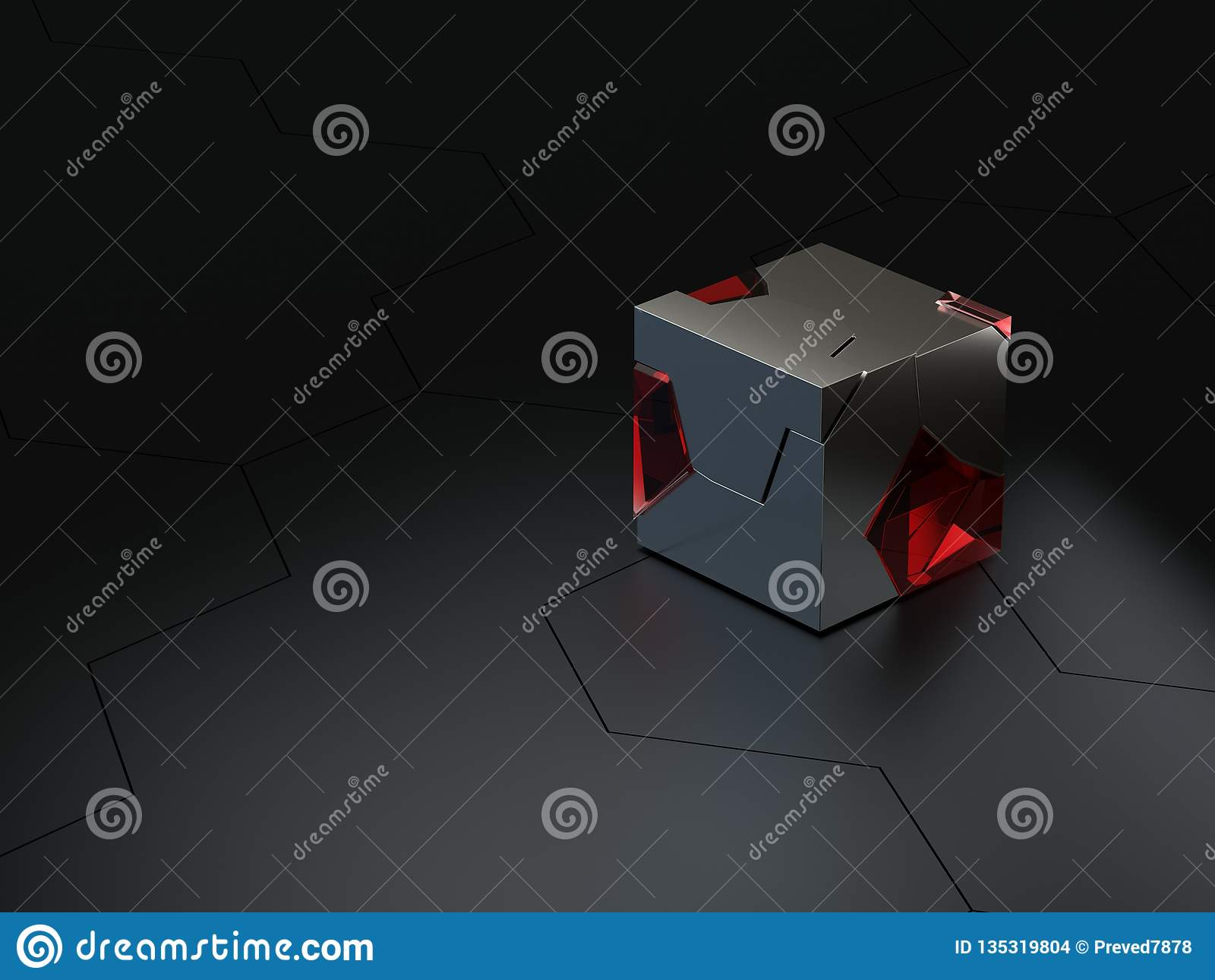 De abstracte hoge details hexagonale technisch of sc.i-FI honingraatachtergrond met van het ruwheidsglas en metaal 3d kubussen ge