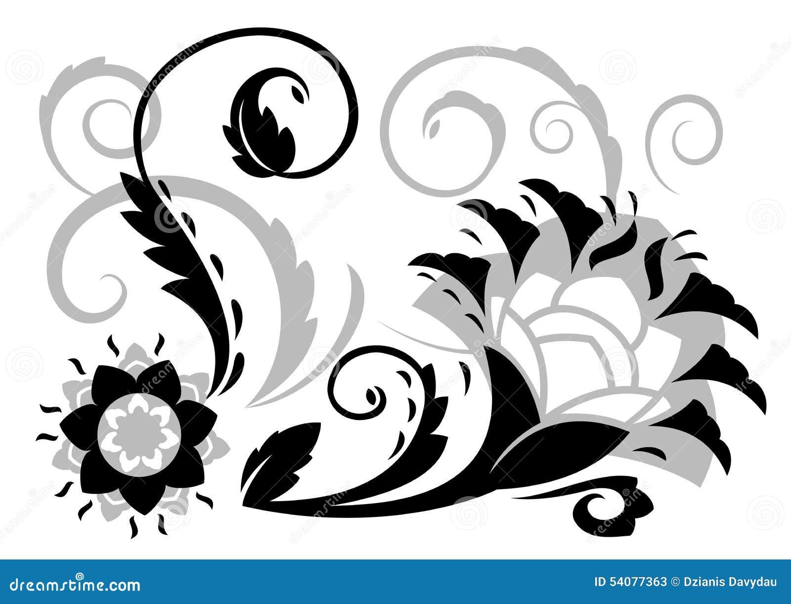De abstracte illustratie van fantasiebloemen