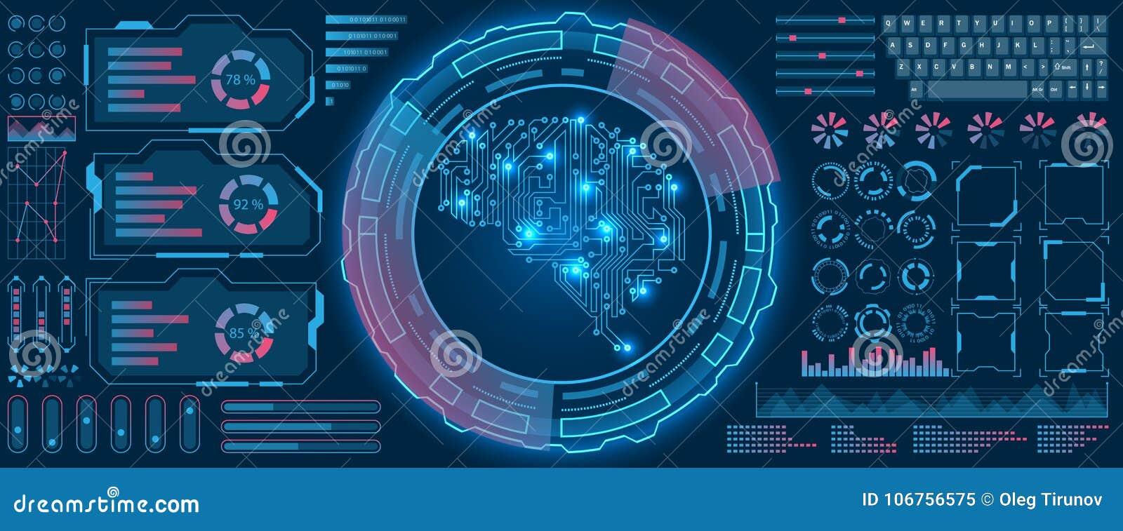 De abstracte Interface van Hud UI, de Virtuele Achtergrond van het Scherm Futuristische hallo Technologie