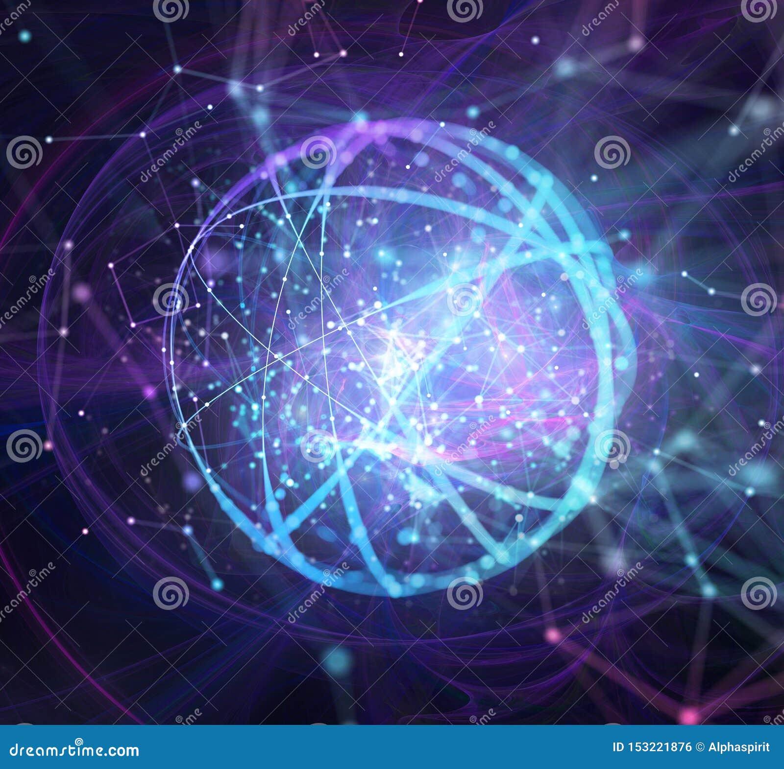 De abstracte Internet-achtergrond van het verbindingsnetwerk met motiegevolgen