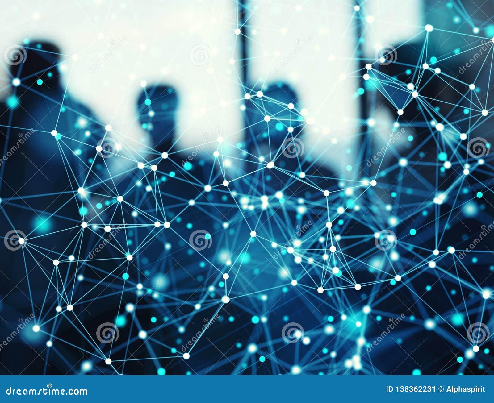 De abstracte Internet-achtergrond van het verbindingsnetwerk met silhouet van commercieel team
