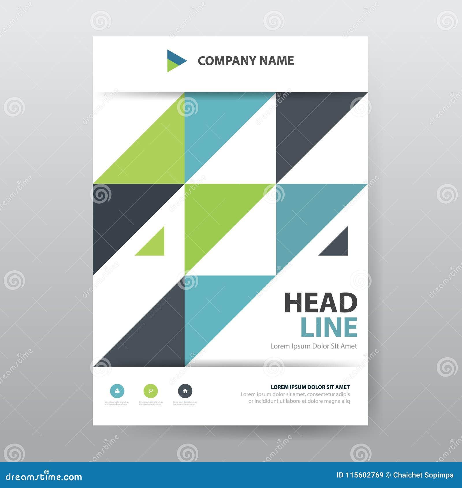 De abstracte kleurrijke affiche van de driehoeksbrochure, het malplaatje van het vlieger jaarverslag in a4 grootte,