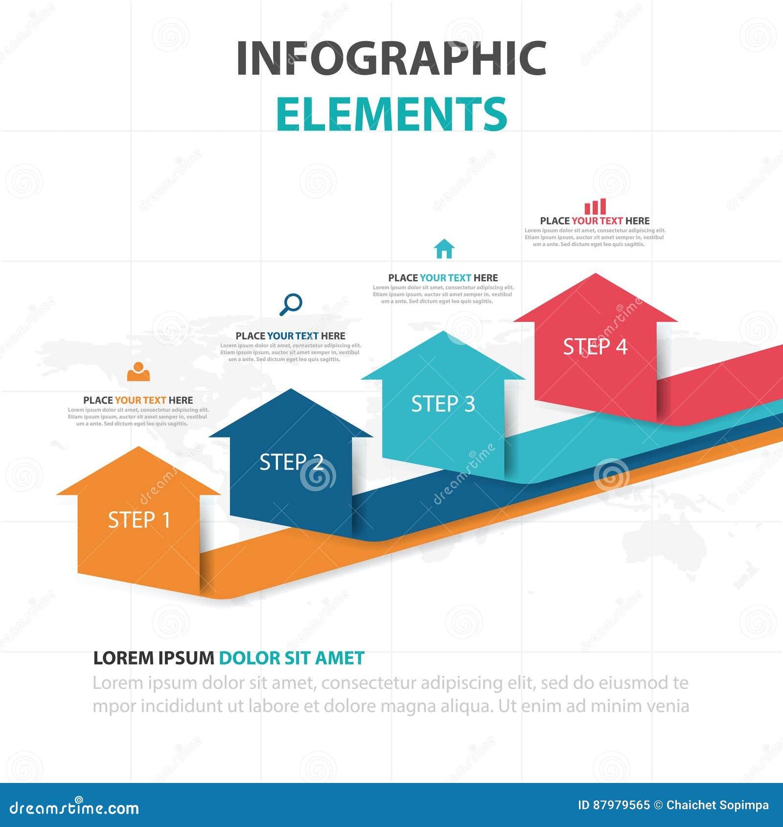 De abstracte kleurrijke elementen pijl bedrijfs van Infographics, vlakke het ontwerp vectorillustratie van het presentatiemalplaa