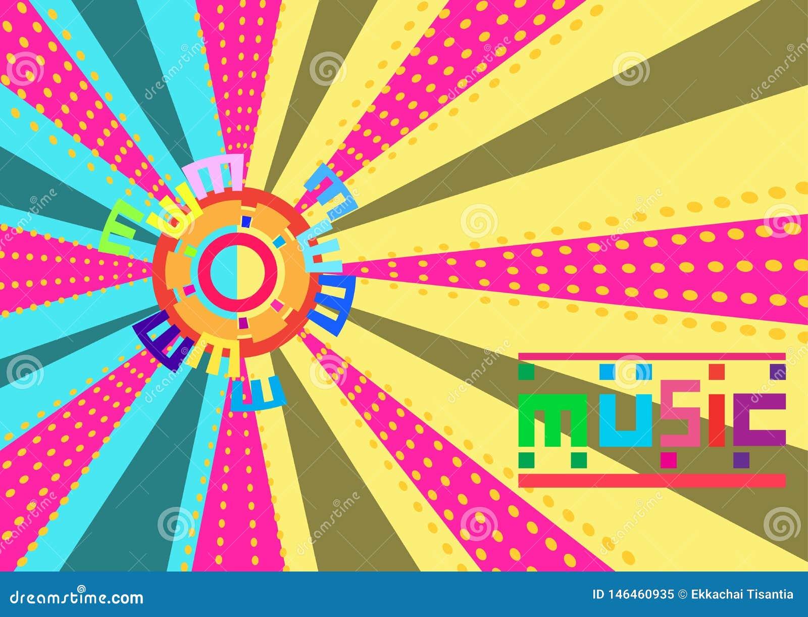 De abstracte Kleurrijke muziekachtergrond is een distributielijn Vector Illustratie
