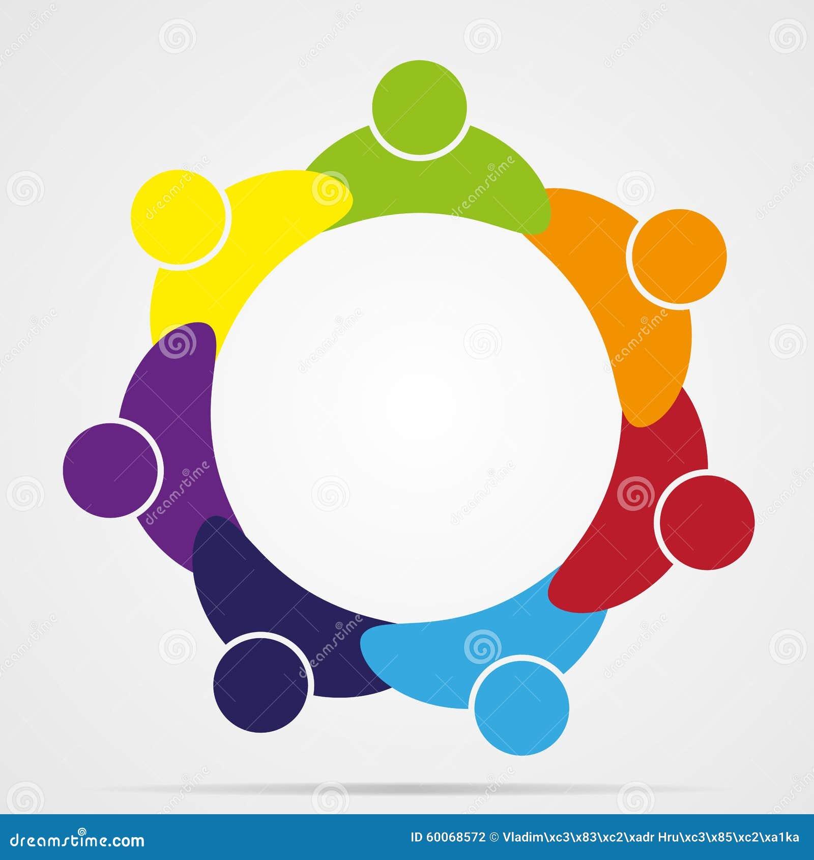 De abstracte mensen verenigen vriendschapsembleem, menselijk vectorpictogram