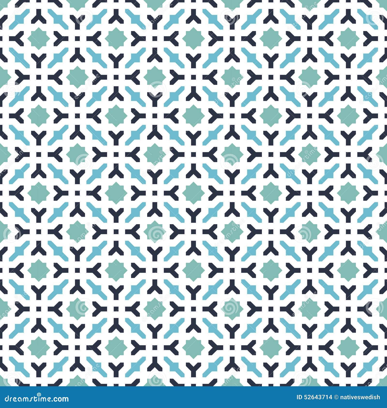 De abstracte Naadloze Decoratieve Geometrische Blauwe & Groene Achtergrond van het Kleurenpatroon