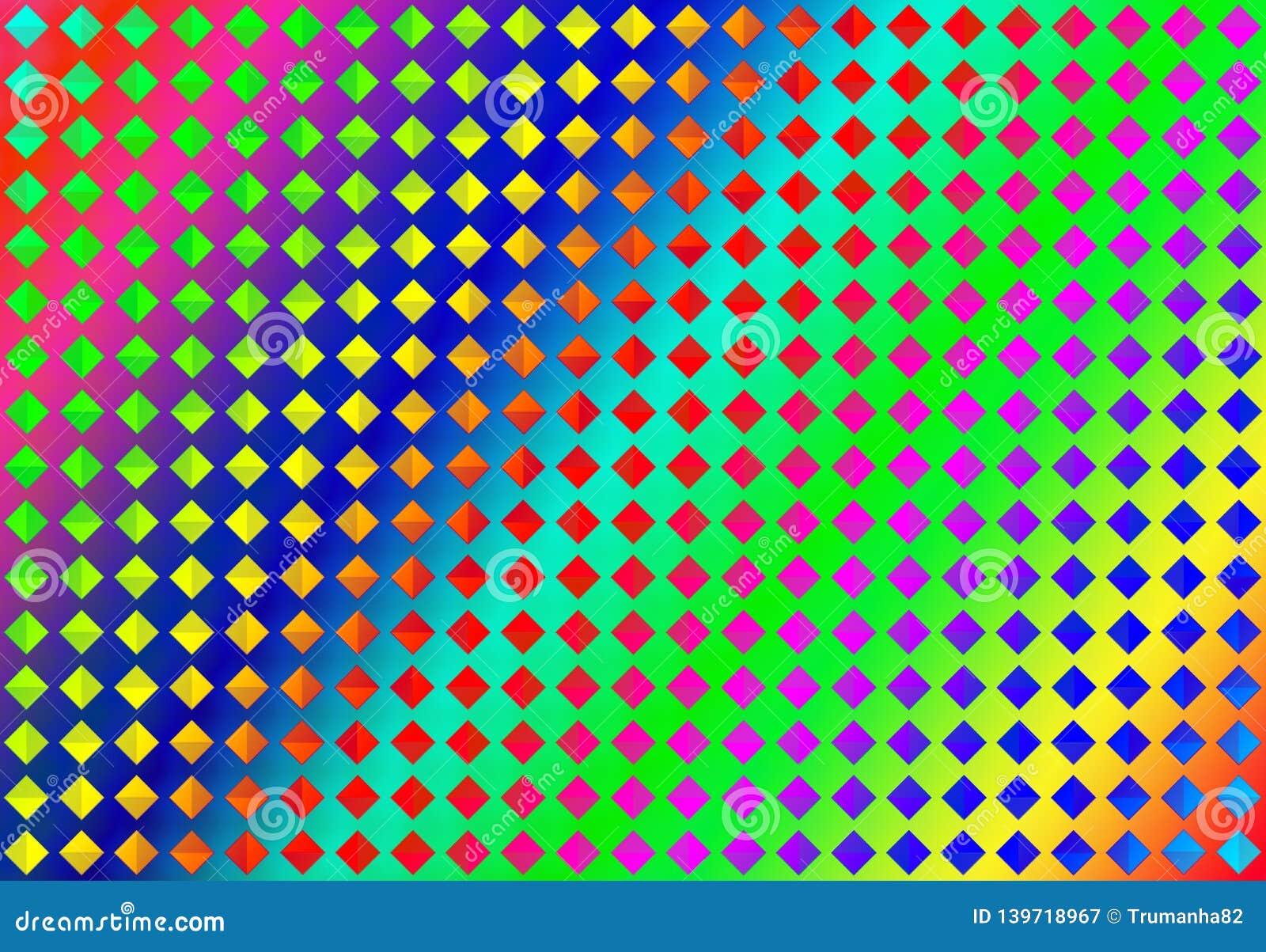 De abstracte Naadloze Kleurrijke Diamanten in Regenboog kleurt Achtergrond